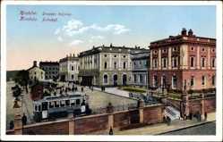 Postcard Kraków Krakau Polen, Dworzec kolejowy, Bahnhof, Straßenbahn