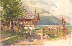 Künstler Litho Schmohl, P., Bauernhaus am Achensee