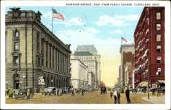 Postcard Cleveland Ohio USA, Superior Avenue, east from Public Square