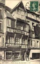 Ak Caen Calvados, Vieille Maison, Rue Saint Jean, Cie Francaise du Gramophone