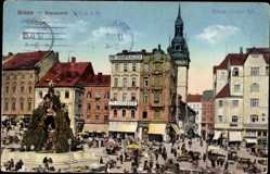 Ak Brno Brünn Südmähren, Blick auf den Krautmarkt, Fr. Dohnalek, Denkmal