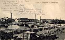 Postcard Liepaja Libau Lettland, Hafenkanal mit Hansabrücke