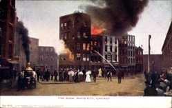 Ak Chicago Illinois USA, Fire Show, White City, Feuerwehr, brennendes Haus