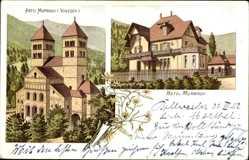 Litho Murbach Vogesen Haut Rhin, Blick auf Hotel und Abtei Murbach