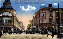 Postcard Lodz Lodsch Polen, Ecke Petrikauer und Prezajzd Straße, Emil Schmechel