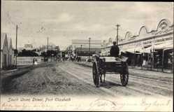 Postcard Port Elizabeth Südafrika, South Union Street, Fuhrwerk, Geschäfte
