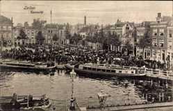 Postcard Leiden Südholland Niederlande, Veeemarkt, Blick auf den Viehmarkt