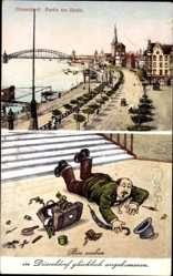 Postcard Düsseldorf am Rhein, Promenade am Rhein, Brücke, Mann fällt an der Treppe