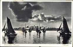 Postcard Büsum Nordsee, Blick auf die Gemeinde von der Seeseite, Segelboote