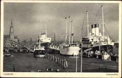 Postcard Hamburg Mitte St. Pauli, Jonashafen mit Segelbooten und Dampfschiffen, Kirche