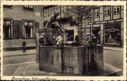 Postcard Braunschweig in Niedersachsen, Partie am Eulenspiegelbrunnen