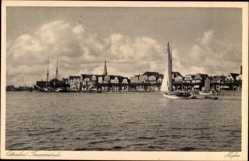 Postcard Lübeck Travemünde, Blick übers Wasser zum Hafen, Segelboot