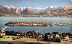 Postcard Lindau im Bodensee Schwaben, Insel, See, Alpenpanorama