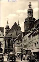 Postcard Lutherstadt Eisleben in Sachsen Anhalt, Marktplatz, Kirche