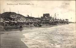 Postcard Westerland auf Sylt, Nordseebad, Strandpartie mit Umgebung