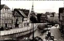 Postcard Stade in Niedersachsen, Flusspartie am alten Hafen