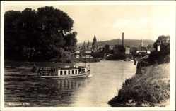 Postcard Heilbronn in Baden Württemberg, Flusspartie, Fähre, Stadt