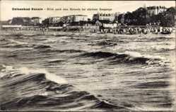 Postcard Ostseebad Bansin Heringsdorf auf Usedom, Strand bei starkem Seegang
