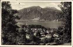 Postcard Tegernsee in Oberbayern, Berge und See, Hirschberg, Häuser am Ufer