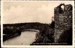 Postcard Halle an der Saale, Blick von der Burg Giebichenstein ins Saaletal