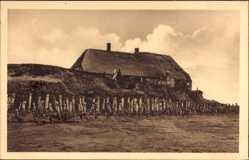 Postcard Nordmarsch Hallig Oland in Nordfriesland, Blick auf die alte Peterswarft