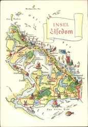 Landkarten Ak Insel Usedom, Zinnowitz, Heringsdorf, Bansin, Wolgast, Lassan