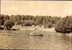 Postcard Lychen im Kreis Uckermark, Campingplatz am Wurlsee, Ruderboot