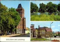 Postcard Golssen Brandenburg, Blick auf das Rathaus, Küchenteich, Markt, Denkmal