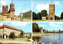 Postcard Prenzlau in der Uckermark, Mitteltorturm, Blindower Tor, Hotel Uckermark