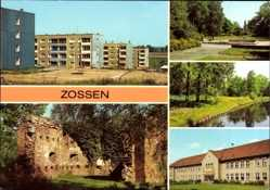 Postcard Zossen im Kreis Teltow Fläming, Neubauten, Burgruine, Nottekanal,Berufsschule