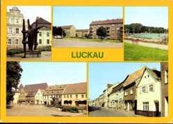 Postcard Luckau im Kreis Dahme Spreewald, Karl Liebknecht Denkmal, Neubauten, Freibad