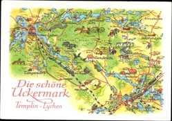Landkarten Ak Templin im Kreis Uckermark, Lychen, Netzow, Klosterwalde, Warthe