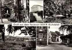 Postcard Uder in Thüringen, Mariengrotte, Altar, FDGB Heim Solidarität, Kirchgasse
