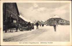 Postcard Schönberg Kurland Lettland, Östlicher Kriegsschauplatz, Pferdeschlitten