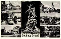 Postcard Herford in Nordrhein Westfalen, Wittekinddenkmal, Rathaus, Münsterkirche