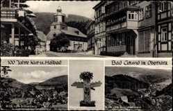 Postcard Bad Grund im Harz, 100 Jahre Stadt, Blick vom Eichelberg, Wegweiser