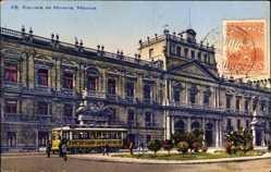 Postcard Mexiko Stadt, Excuela de Mineria, Schulgebäude, Straßenbahn