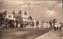 Postcard A Coruña Galicien, Paseo de la Dársena, Straßenansicht