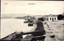 Postcard Linz Donau Oberösterreich, Landungsplatz, Anlegestellen