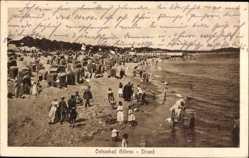 Ak Ostseebad Göhren auf Rügen, Strandpartie, Meer, Strandkörbe, Kinder