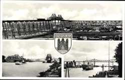 Wappen Ak Rendsburg in Schleswig Holstein, Drehbrücke, Hochbrücke, Kanal