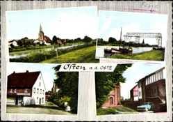 Postcard Often a.d. Niederelbe, Flusspartie, Konditorei, Brücke, Ortschaft