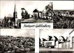 Postcard Stuttgart Gablenberg, Straßenpartie, Fritz Nanz Heim, Kirche, Totalansicht