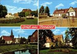 Postcard Vordorf in Niedersachsen, Spielplatz, Straßenpartie, Teich, Kirche