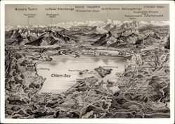Landkarten Ak Gemeinde Chiemsee, Hohe Tauern, Chiem See