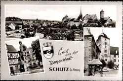 Postcard Schlitz im Vogelsbergkreis, St. Georgsbrunnen, Ziehbrunnen Vorderburg