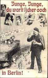 Ansichtskarte / Postkarte Junge, Junge du warst sicher ooch in Berlin, Raufbold, Frauen, Hahn