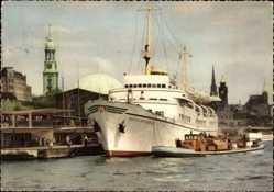 Postcard St. Pauli, Hamburger Hafen, Seebäderschiff Wappen von Hamburg