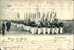 Postcard Gruß aus Berlin, Fahnenkompagnie beim Exerzieren, Kaiserreich