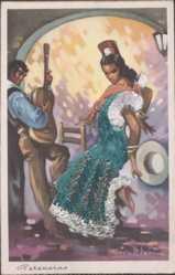 Stoff Ak Spanien, Peteneras, Flamenco, Spanischer Tanz, Gitarrenspieler